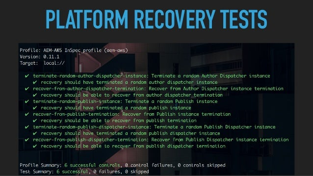 PLATFORM RECOVERY TESTS