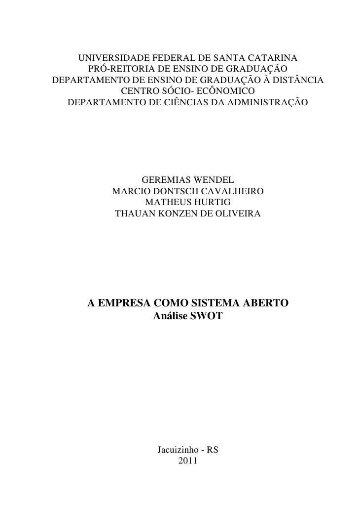 1     UNIVERSIDADE FEDERAL DE SANTA CATARINA      PRÓ-REITORIA DE ENSINO DE GRADUAÇÃODEPARTAMENTO DE ENSINO DE GRADUAÇÃO À...