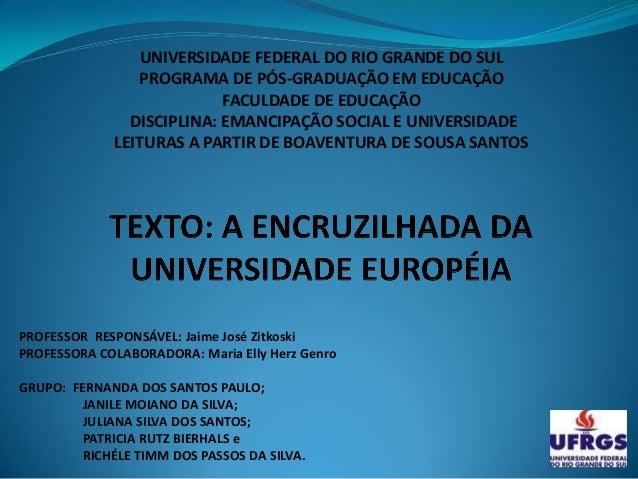 UNIVERSIDADE FEDERAL DO RIO GRANDE DO SUL                PROGRAMA DE PÓS-GRADUAÇÃO EM EDUCAÇÃO                           F...