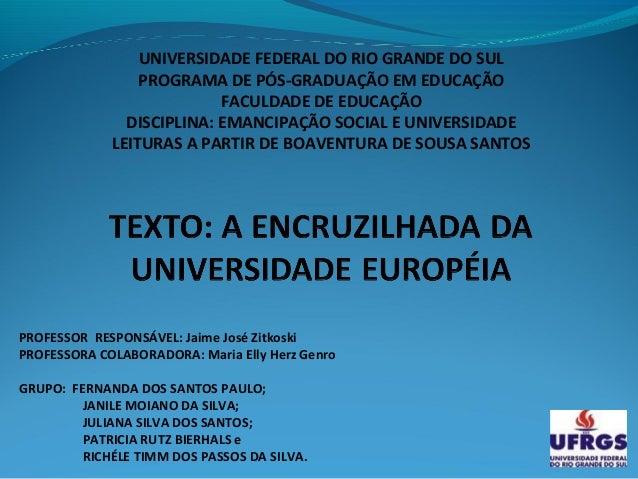 UNIVERSIDADE FEDERAL DO RIO GRANDE DO SUL                 PROGRAMA DE PÓS-GRADUAÇÃO EM EDUCAÇÃO                           ...
