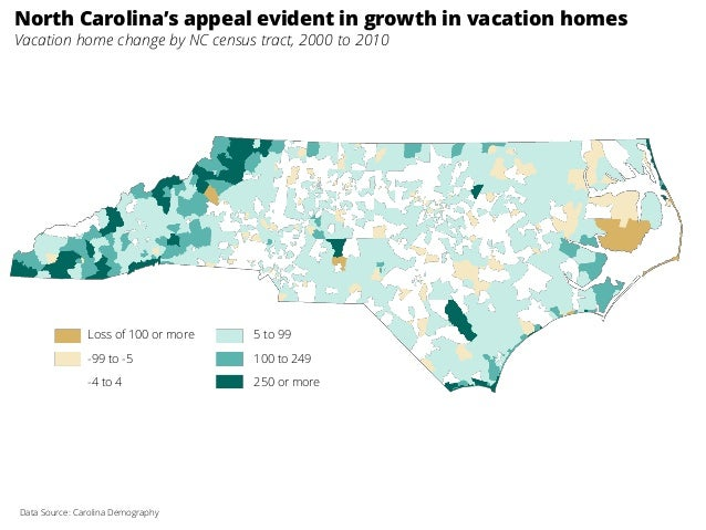 North Carolina's appeal evident in growth in vacation homes Vacation home change by NC census tract, 2000 to 2010 Data Sou...