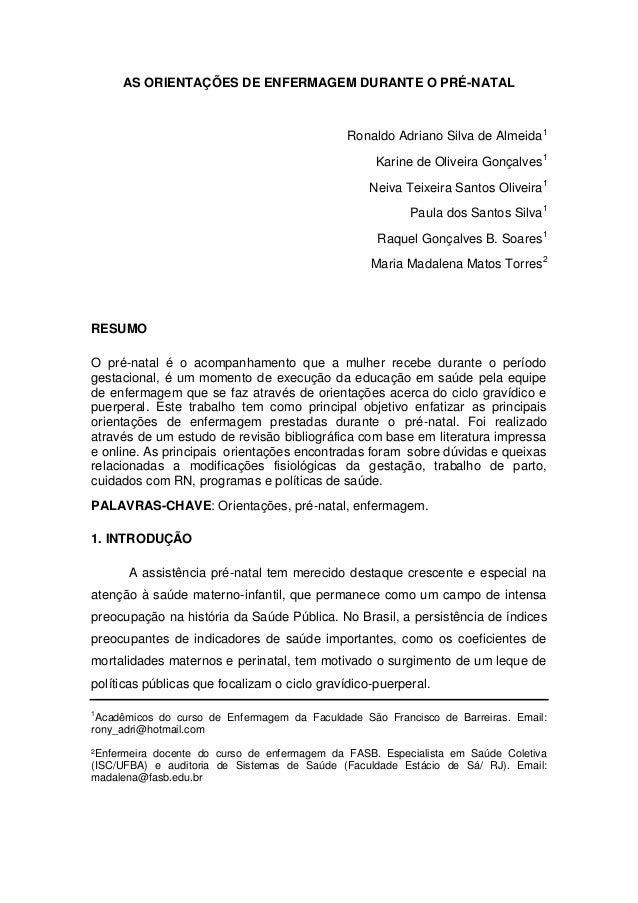 AS ORIENTAÇÕES DE ENFERMAGEM DURANTE O PRÉ-NATAL                                              Ronaldo Adriano Silva de Alm...