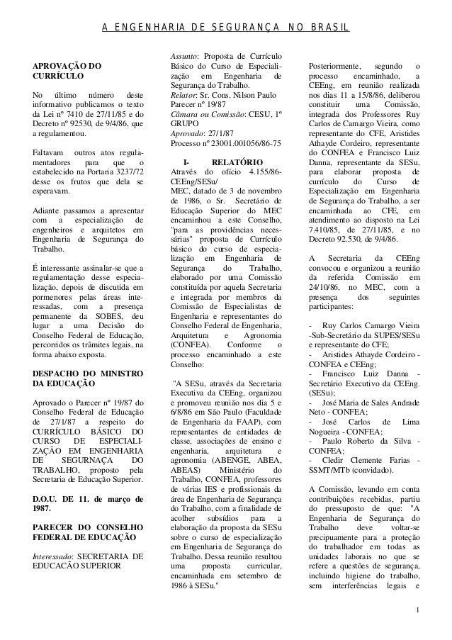 A ENGENHARIA DE SEGURANÇA NO BRASIL                                     Assunto: Proposta de CurrículoAPROVAÇÃO DO        ...