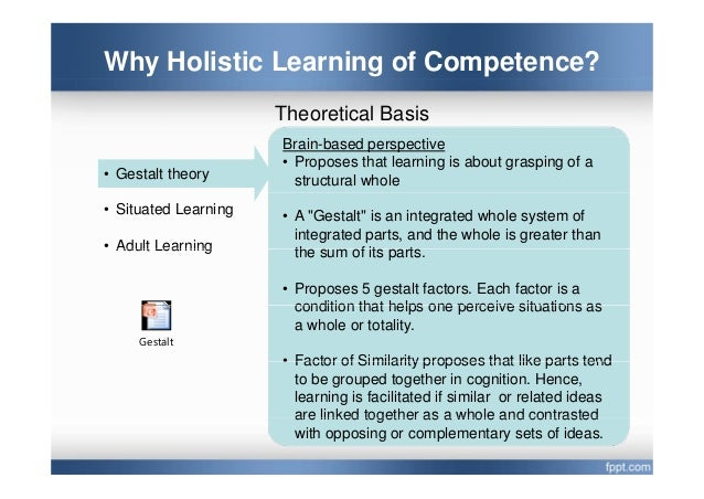 whole task approach to holistic learning of vocational competences