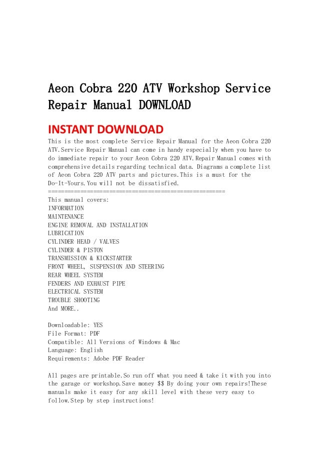 aeon cobra 220 workshop service repair manual