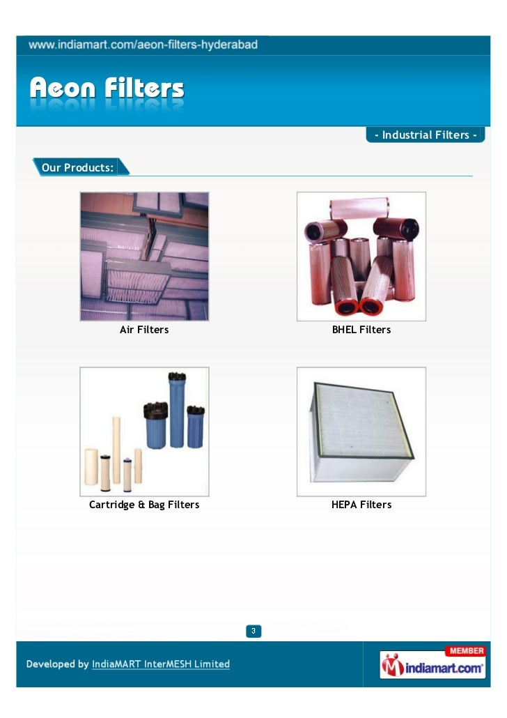 - Industrial Filters -Our Products:                Air Filters       BHEL Filters        Cartridge & Bag Filters   HEPA Fi...