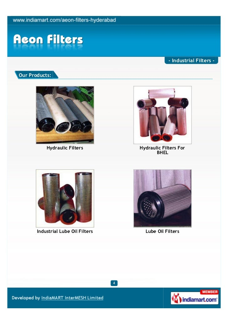 - Industrial Filters -Our Products:           Hydraulic Filters         Hydraulic Filters For                             ...