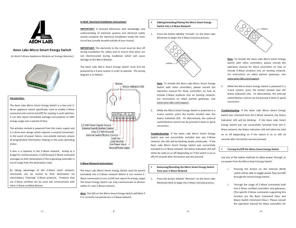 Aeon Labs Micro Smart Energy Switch Manual