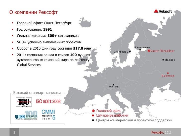 О компании Рексофт       Головной офис: Санкт-Петербург       Год основания: 1991       Сильная команда: 300+ сотрудник...