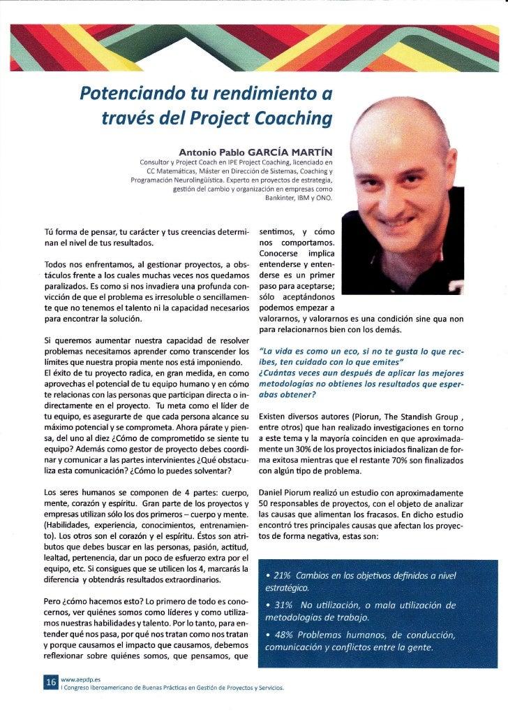 Potenciondo tu rendimiento o             través del Project Coaching                                               Antonio...