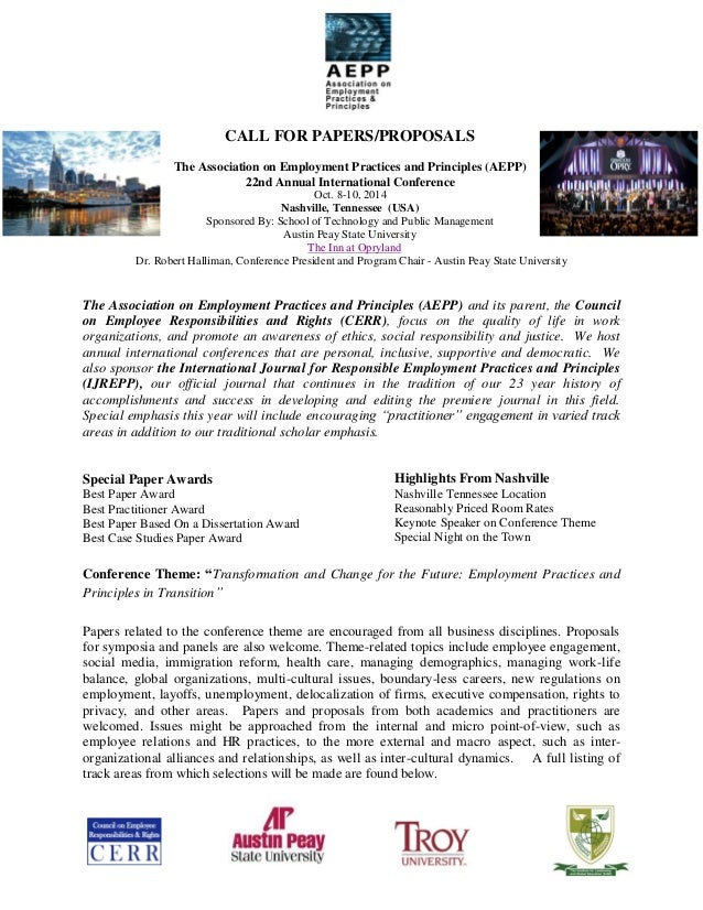 CALL FOR PAPERS/PROPOSALS The Association on Employment Practices and Principles (AEPP) 22nd Annual International Conferen...