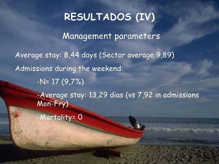 RESULTADOS (IV)             Management parametersAverage stay: 8,44 days (Sector average 9,89)Admissions during the weeken...