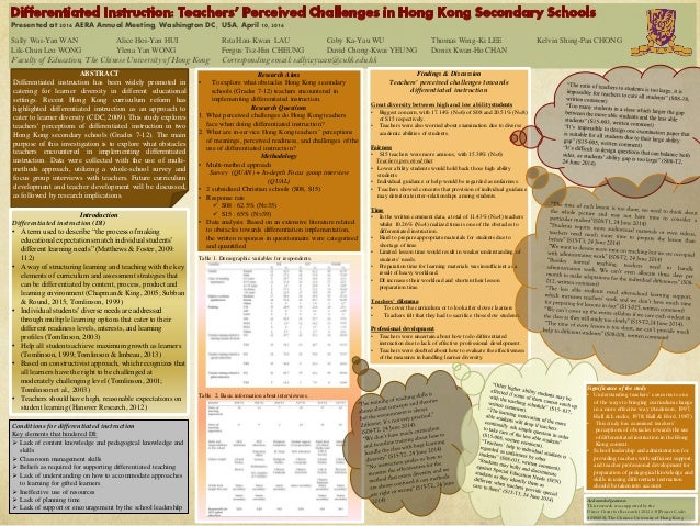 Presented at 2016 AERA Annual Meeting, Washington DC, USA, April 10, 2016 ABSTRACT Differentiated instruction has been wid...
