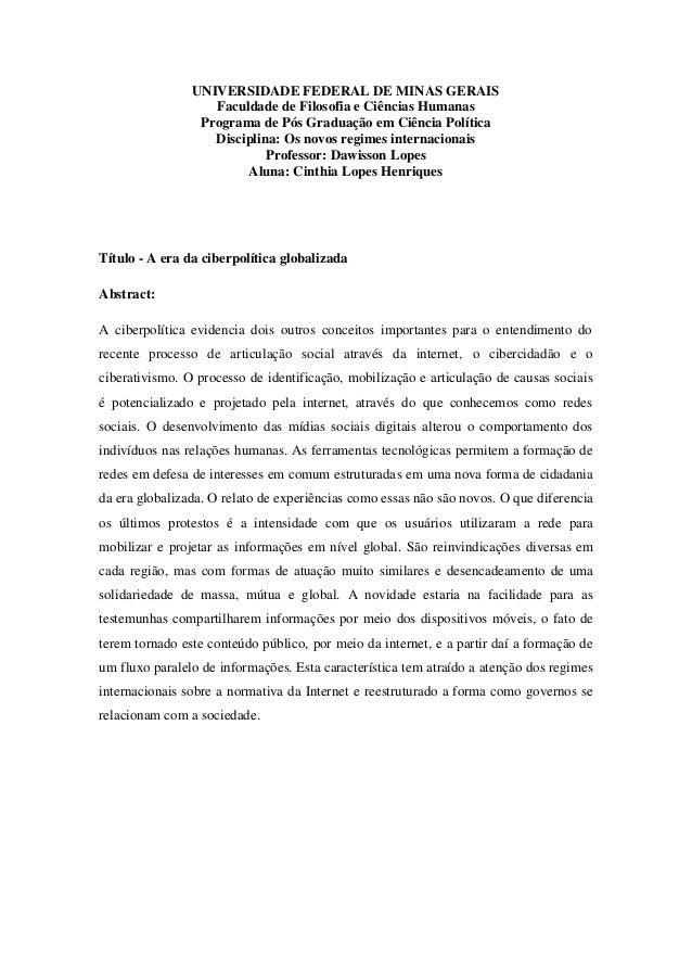 UNIVERSIDADE FEDERAL DE MINAS GERAIS Faculdade de Filosofia e Ciências Humanas Programa de Pós Graduação em Ciência Políti...