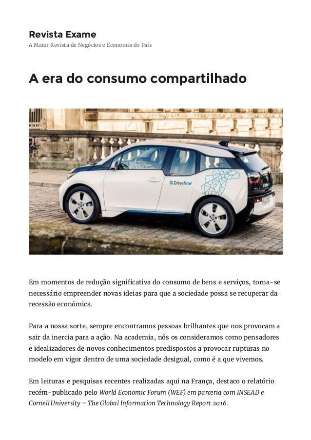 RevistaExame A Maior Revista de Negócios e Economia do País Aeradoconsumocompartilhado Em momentos de redução signi c...