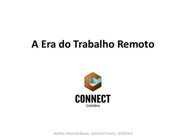 A Era do Trabalho Remoto Ana Reis e Bernardo Raposo - Quinta da Conraria - 12/06/2013