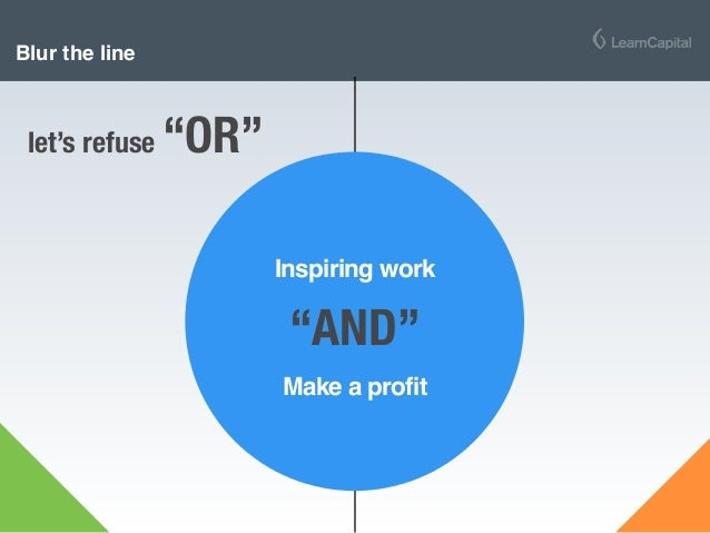 """Blur the line let's refuse """"OR"""" Inspiring work Make a profit """"AND"""""""