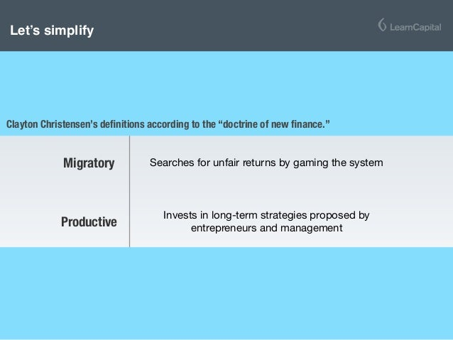 Extractive Actively seeks to extract value out of calculable assets Migratory Searches for unfair returns by gaming the sy...