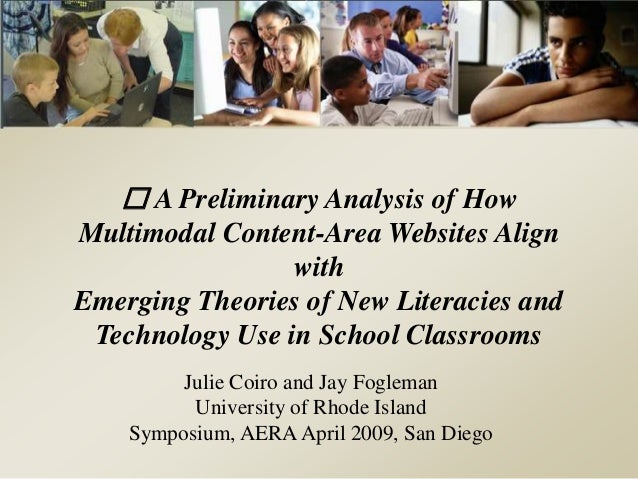 A Preliminary Analysis of How Multimodal Content-Area Websites Align with Emerging Theories of New Literacies and Technolo...