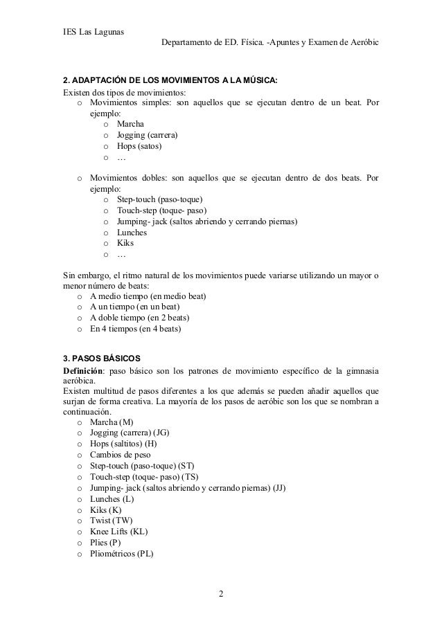 Aeróbic apuntes y bases examen 4º ESO