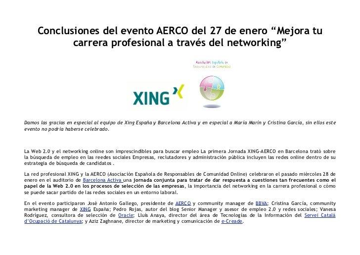 """Conclusiones del evento AERCO del 27 de enero """"Mejora tu             carrera profesional a través delnetworking""""     Damo..."""