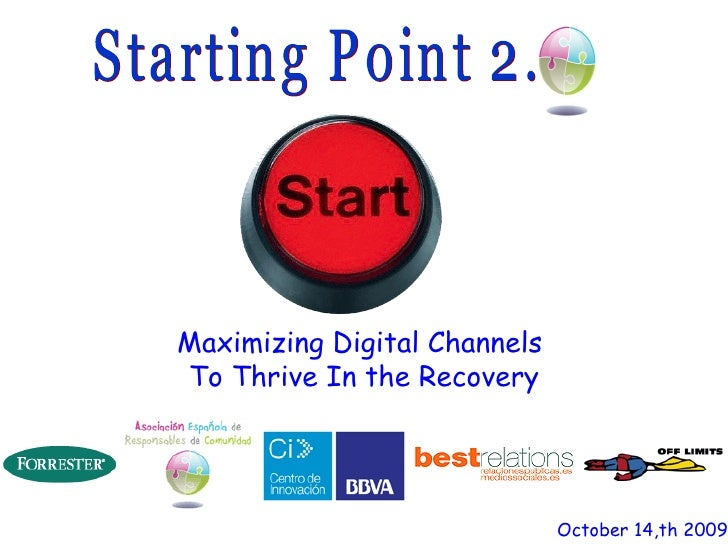 Maximizing Digital Channels  To Thrive In the Recovery October 14,th 2009 Starting Point 2.