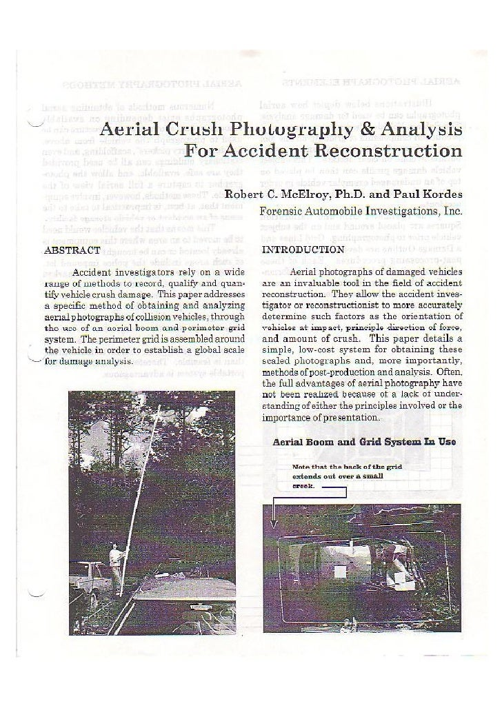 M - Aerial Crush Photography & Analysis for Accident Reconstruction