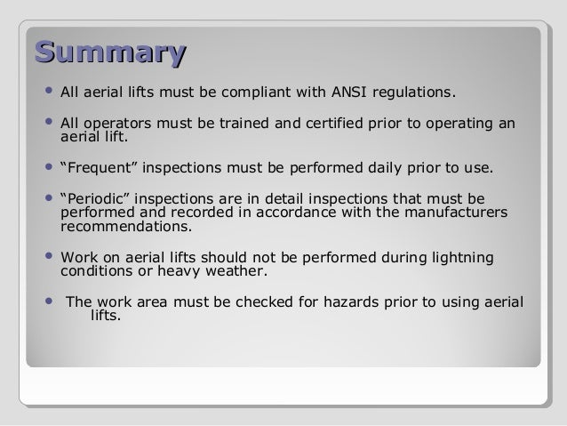 Aerial Lift Safety Training by ANSV