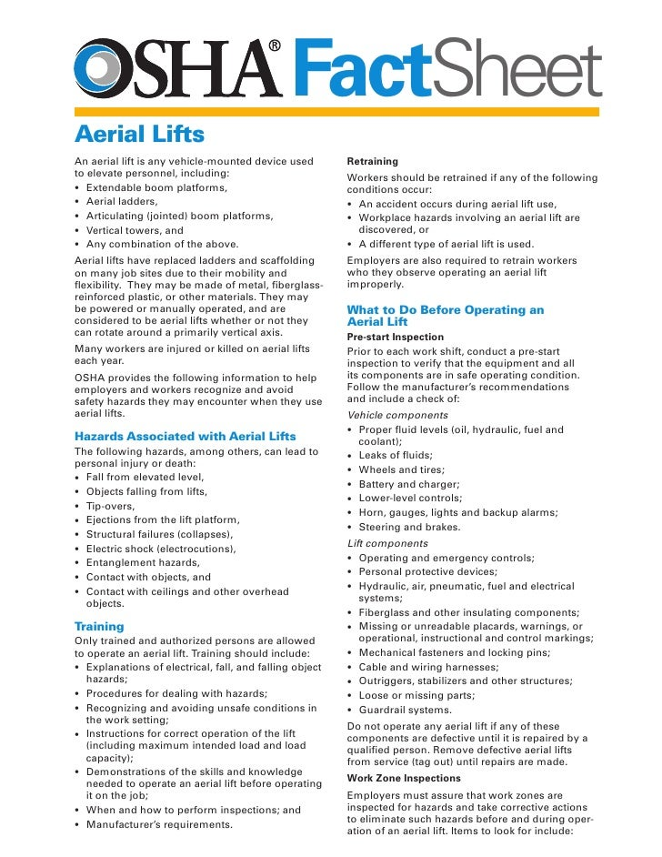 Aerial Lifts Factsheet