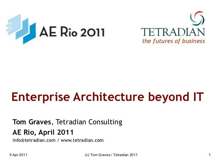 Enterprise Architecture beyond IT Tom Graves , Tetradian Consulting AE Rio, April 2011 info@tetradian.com / www.tetradian....