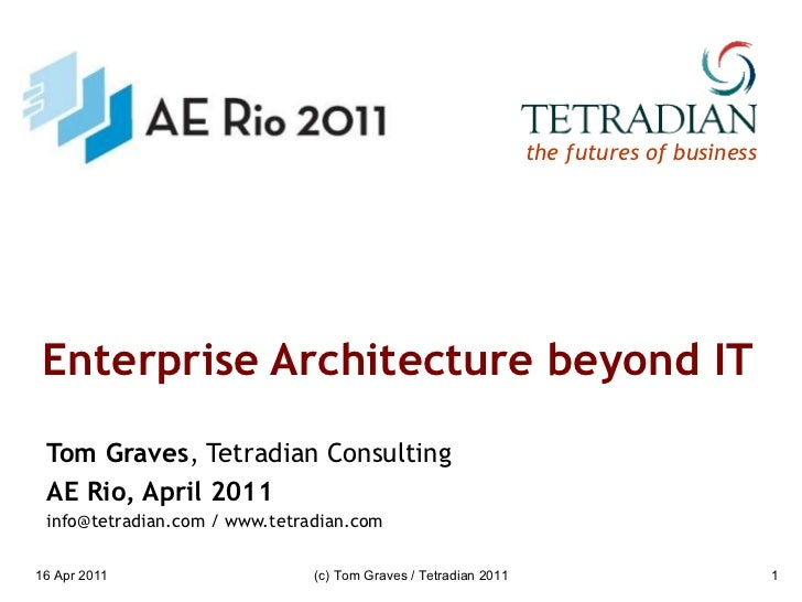 Enterprise Architecture beyond IT Tom Graves , Tetradian Consulting AE Rio, April 2011 info@tetradian.com / www.tetradian....