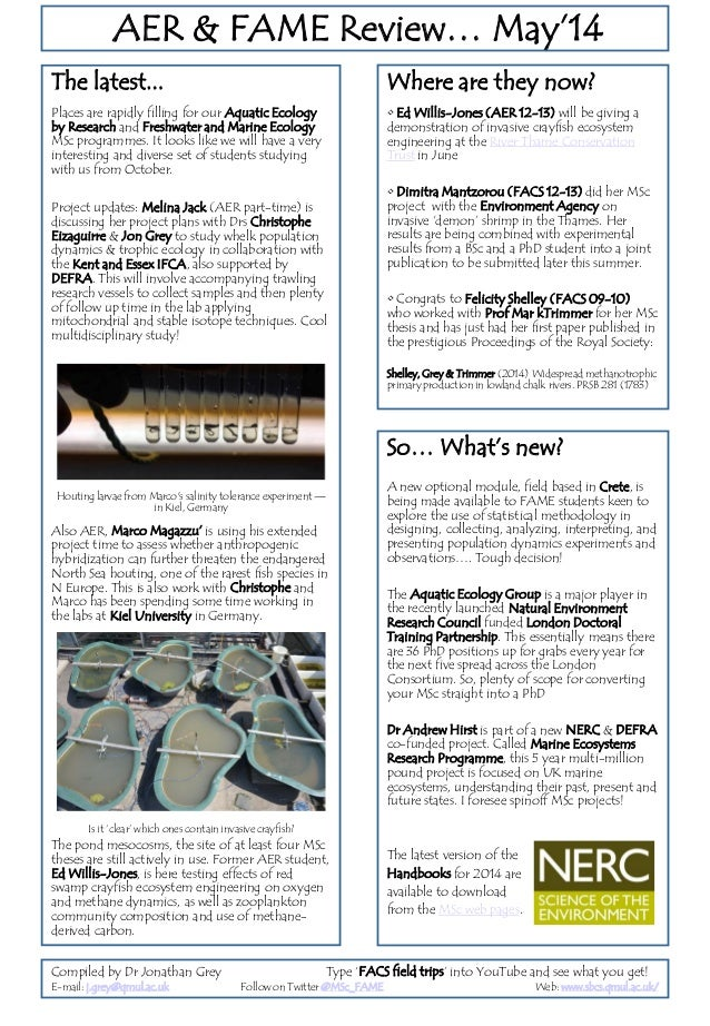 AER & FAME Review… May'14 The latest... Places are rapidly filling for our Aquatic Ecology by Research and Freshwater and ...