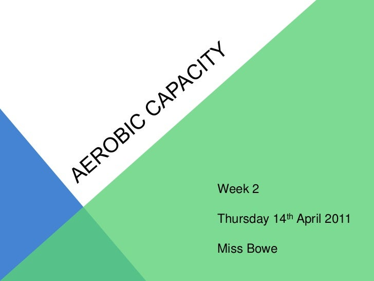Aerobic capacity<br />Week 2<br />Thursday 14thApril 2011<br />Miss Bowe<br />