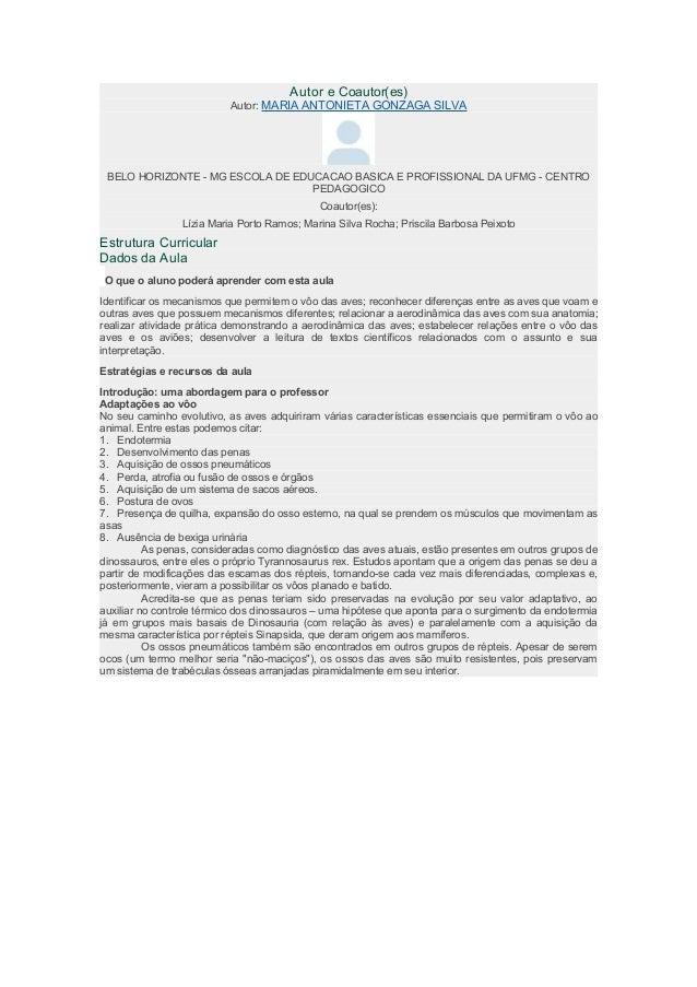 Autor e Coautor(es)  Autor: MARIA ANTONIETA GONZAGA SILVA  BELO HORIZONTE - MG ESCOLA DE EDUCACAO BASICA E PROFISSIONAL DA...