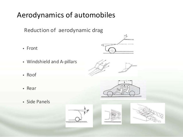 Aerodynamics of automobiles Reduction of aerodynamic drag  Front  Windshield and A-pillars  Roof  Rear  Side Panels