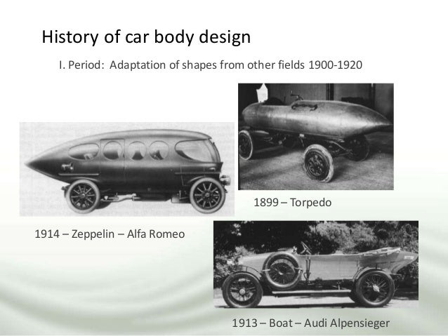 History of car body design I. Period: Adaptation of shapes from other fields 1900-1920 1914 – Zeppelin – Alfa Romeo 1913 –...