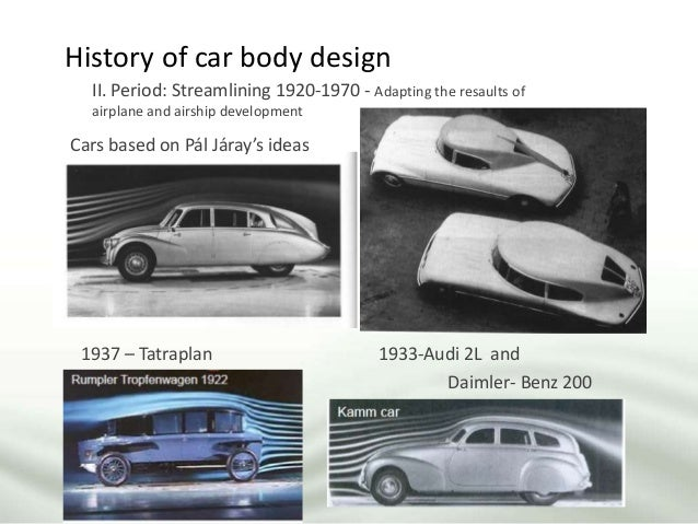 History of car body design II. Period: Streamlining 1920-1970 - Adapting the resaults of airplane and airship development ...