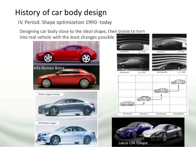 History of car body design IV. Period: Shape optimization 1990- today Designing car body close to the ideal shape, then tr...