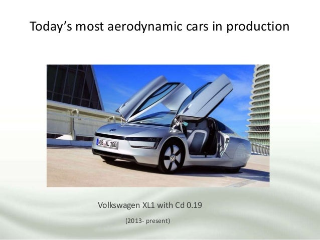 Today's most aerodynamic cars in production Volkswagen XL1 with Cd 0.19 (2013- present)