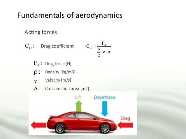 Fundamentals of aerodynamics D D F C v A 2     Acting forces DC : Drag coefficient Drag force [N] Density [kg/m3] Velo...
