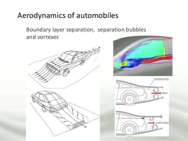 Boundary layer separation, separation bubbles and vortexes Aerodynamics of automobiles
