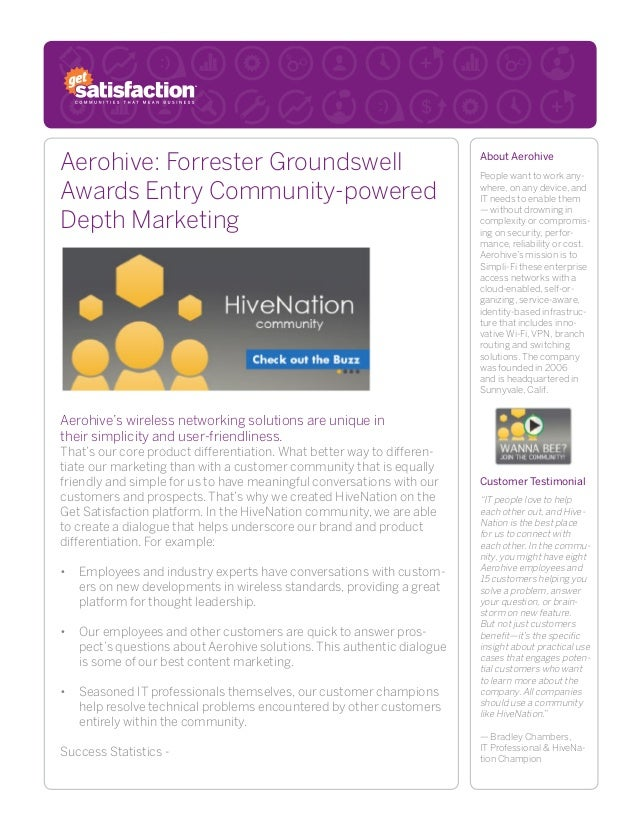 Aerohive: Forrester Groundswell Awards Entry Community-powered Depth Marketing Aerohive's wireless networking solutions ar...