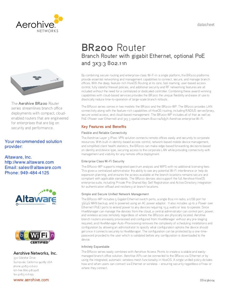 datasheet                                        BR200 Router                                        Branch Router with gi...