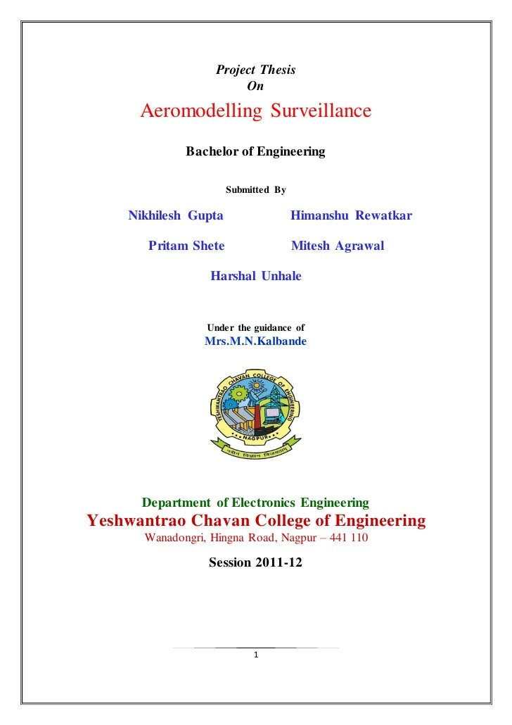 Project Thesis                         On      Aeromodelling Surveillance              Bachelor of Engineering            ...