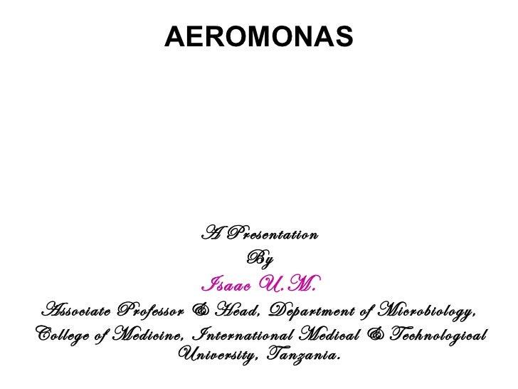 AEROMONAS A Presentation By Isaac U.M. Associate Professor & Head, Department of Microbiology, College of Medicine, Intern...
