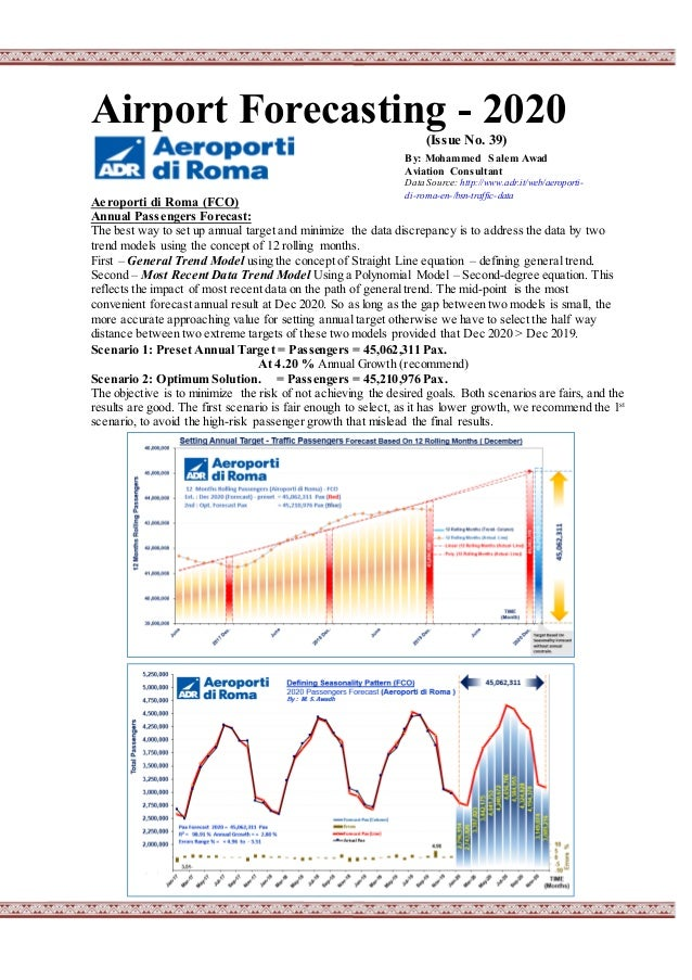 Airport Forecasting - 2020 (Issue No. 39) Aeroporti di Roma (FCO) Annual Passengers Forecast: The best way to set up annua...