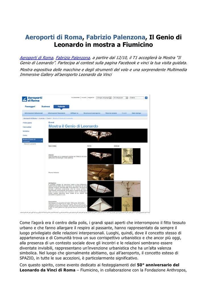 Aeroporti di Roma, Fabrizio Palenzona, Il Genio di            Leonardo in mostra a FiumicinoAeroporti di Roma, Fabrizio Pa...
