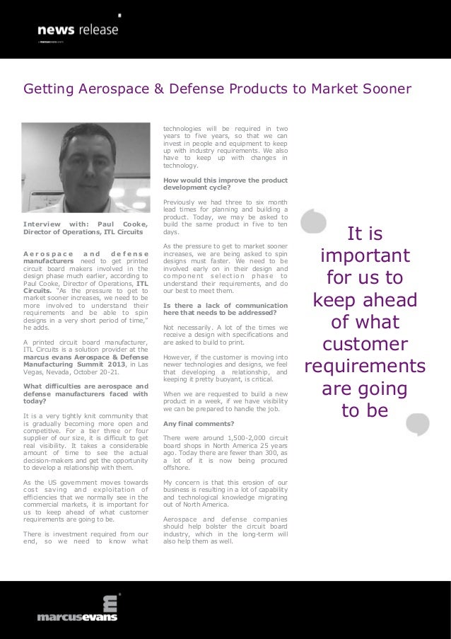 Interview with: Paul Cooke, Director of Operations, ITL Circuits A e r o s p a c e a n d d e f e n s e manufacturers need ...
