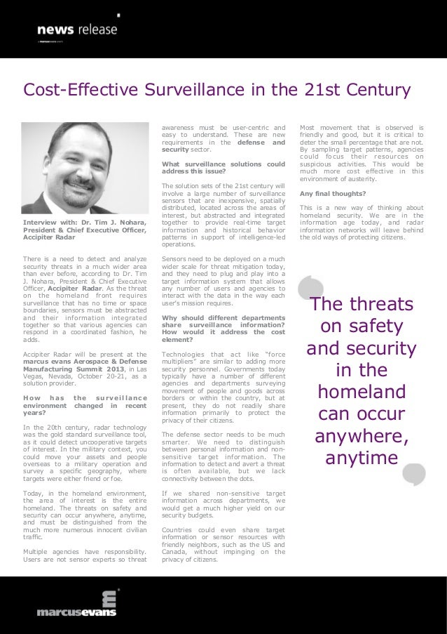 Interview with: Dr. Tim J. Nohara,President & Chief Executive Officer,Accipiter RadarThere is a need to detect and analyze...