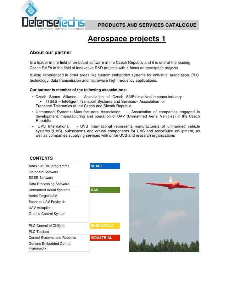 PRODUCTS AND SERVICES CATALOGUE                                  Aerospace projects 1About our partnerIs a leader in the f...